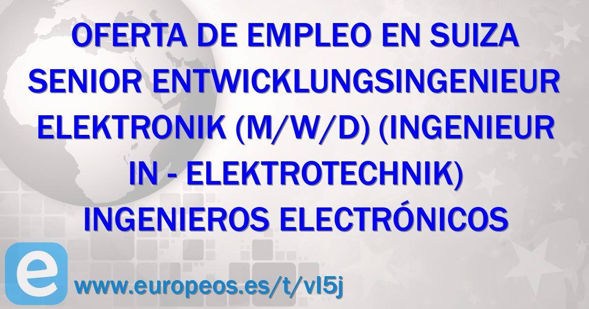 Senior Entwicklungsingenieur Elektronik M W D Ingenieur